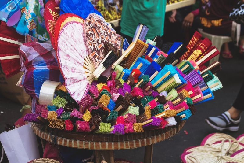 Quirky Quiapo   Pamaypay, A Folding Summer Cooler Stories From The City Eyeem Philippines Handmade Streetphoto_color Street Photography Folding Fan Hand Fan Marketplace Multi Colored For Sale Choice Market Retail  Abundance Variation Retail Display Close-up Arrangement