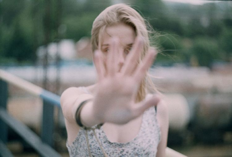 Blond Hair Close-up Day Film Film Photography Focus On Foreground Front View Human Hand Lifestyles Looking At Camera One Person Outdoors People Portrait Real People Young Adult Young Women EyeEm Selects The Portraitist - 2018 EyeEm Awards International Women's Day 2019