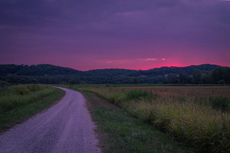 Beauty In Nature Diminishing Perspective Direction Dusk Environment Field Grass Land Landscape Long Nature No People Non-urban Scene Outdoors Plant Purple Road Scenics - Nature Sky Sunset The Way Forward Tranquil Scene Tranquility Transportation