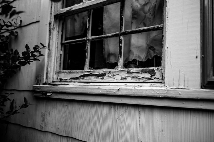 Architecture Blackandwhite Photography Building Exterior Built Structure Close-up Curtains Day House Nikon D750 No People Old House Outdoors Peeling Off Peeling Paint Photographyisthemuse Window Window Sill