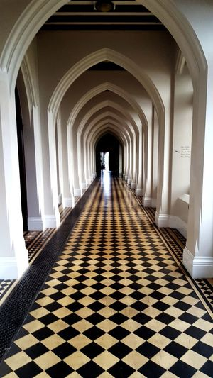 Arch Indoors  Travel Destinations Checked Pattern Tourism Architecture Full Length Corridor Architectural Column