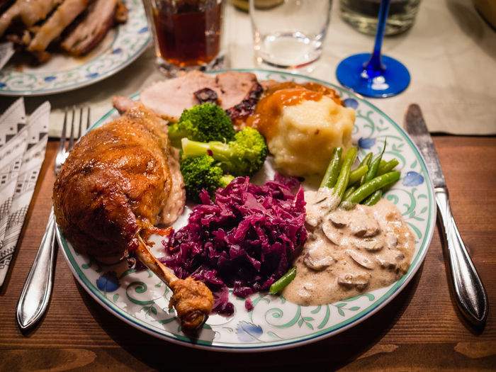 Close-up of christmas food served on table