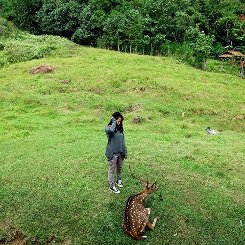 Girl standing on grassy field in park