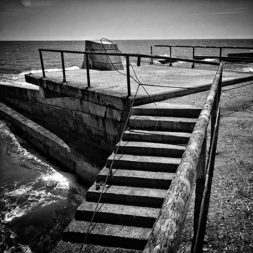Stairs_collection Ladder To Water Ladder Water High Angle View Day Outdoors No People Sea Shadow