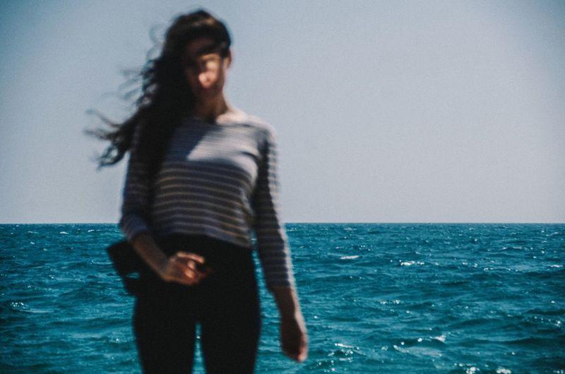 Woman Light And Shadow Light Sun Beach Summer Ocean Out Of Focus Outdoors Sea Blue Portrait Wind