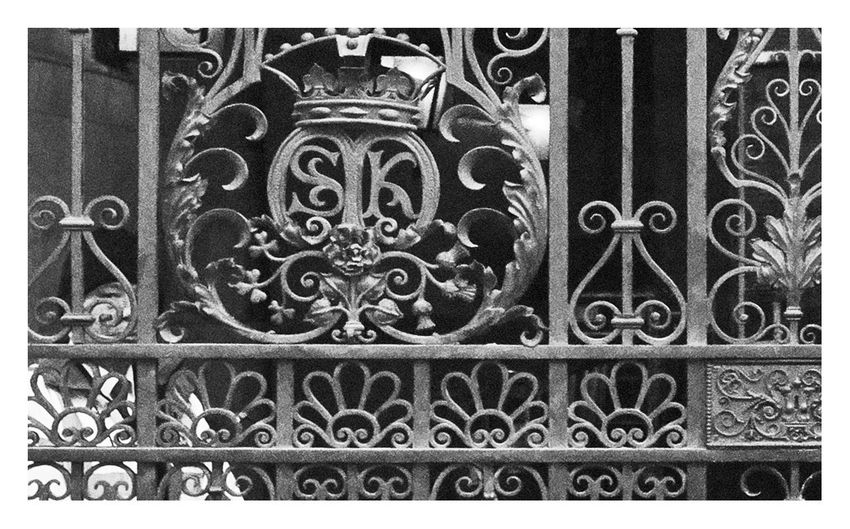 Close-up view of ornate metal