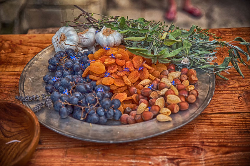 Almond Apricot Aquitaine Aromatic Herbs Blueberry Cookery Cuisine Dessert Dish France French Garlics Gironde Hazelnut Herbs Table Timber Wood