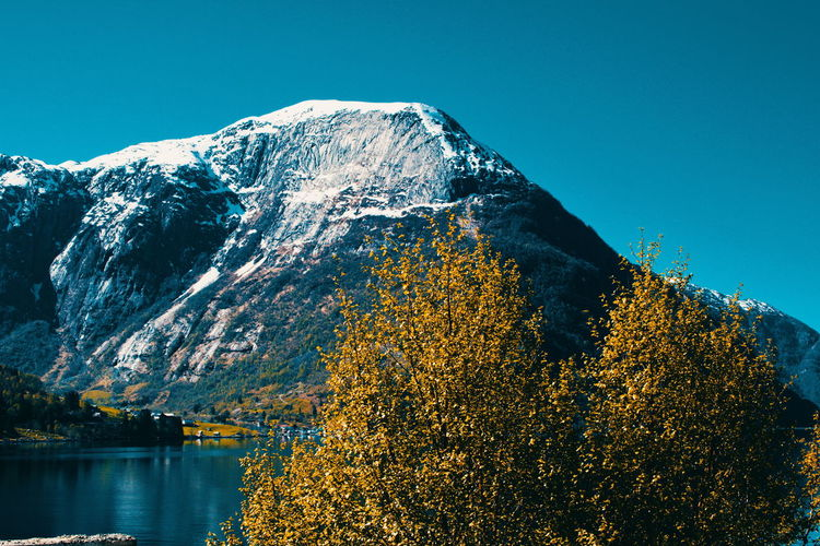 Odda, Norway Mountain Beauty In Nature Scenics - Nature Water Plant Tree Sky Tranquility Tranquil Scene Nature No People Clear Sky Day Idyllic Non-urban Scene Autumn Mountain Range Winter Outdoors Snowcapped Mountain Change Mountain Peak Odda Norway Scandinavia Travel Destinations Travel Adventure Hiking