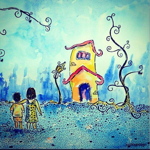 A walk with sister Magicpict Colorsoftime Watercolour Artist painting art sisterhood brotherhood family lifelovemissyou OSHOMoment blue bangalore