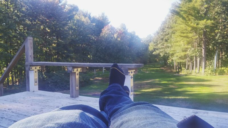 Low Section Person Tree Relaxation Personal Perspective Men Human Foot Legs Crossed At Ankle Railing Solitude Shoe Park Bench Day Sunny Growth Outdoors Nature Tranquility Footpath Lush Foliage