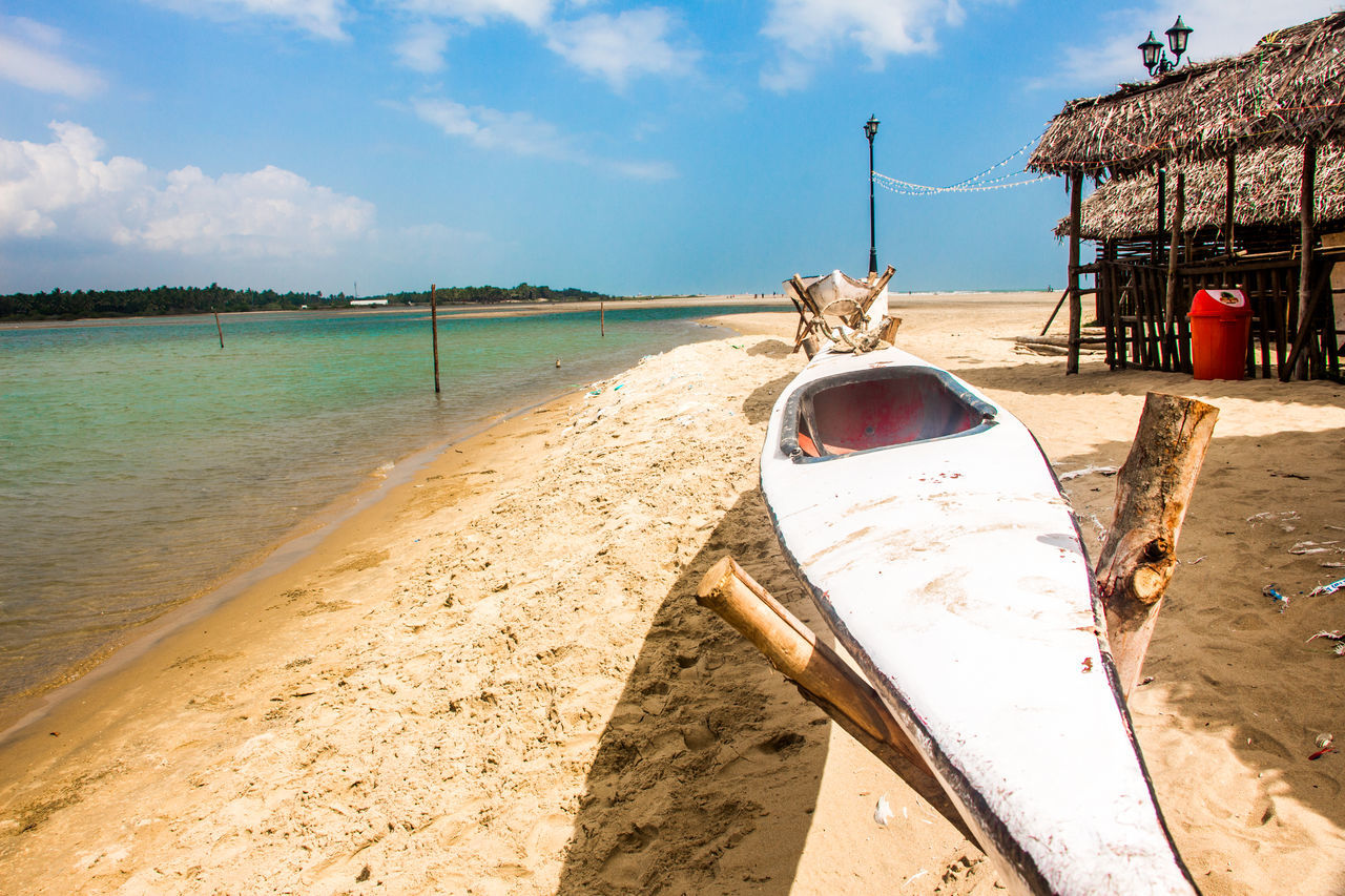 sand, beach, sea, sky, day, mode of transport, transportation, nature, outdoors, cloud - sky, scenics, nautical vessel, beauty in nature, no people, water, moored
