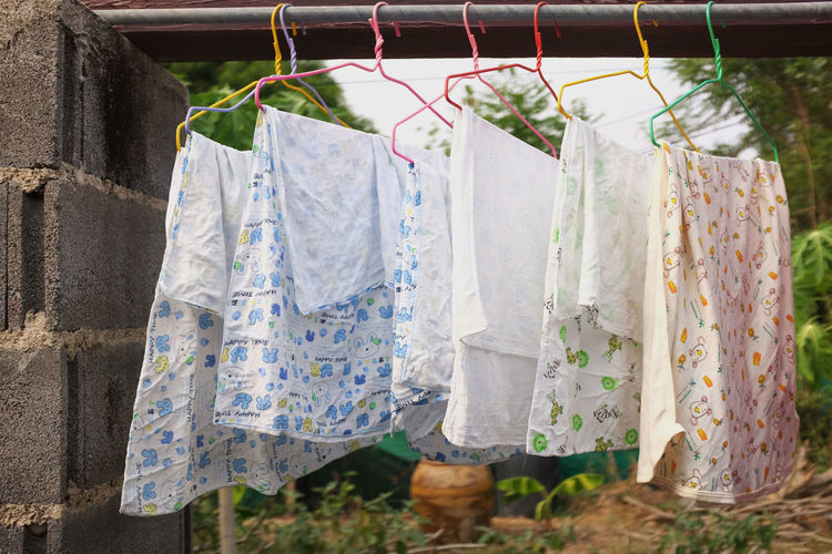 Close-up of clothes drying on clothesline