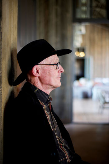 Man in Black Hat Black Jacket Blackandwhite Glasses Happy Man Profile Relaxing Sitting Smiling The Portraitist - 2016 EyeEm Awards