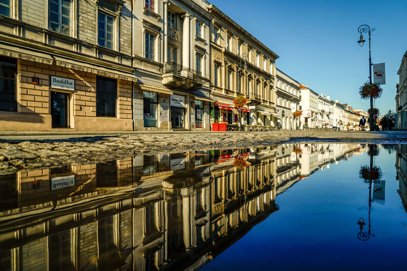puddle Polska Puddle Kałuża Reflections Warsaw Poland Polska Warszawa  Cityscape Travel Travel Destinations City Politics And Government Water Reflection Clear Sky Gondola - Traditional Boat History Sky Architecture Building Exterior