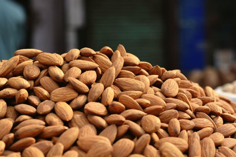 Heap Of Almonds At Market Stall