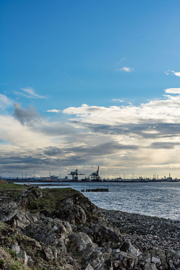 South Gare at Redcar. North east coast of England. Cloud - Sky Sky No People Nature Outdoors Redcar Teesside Yorkshire Uk England Coast Europe European  North East Industry Industries Industrial Water Sea Rock - Object Scenics - Nature Beach Rock Architecture Day
