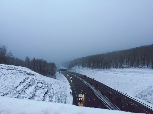 Winter Cold Temperature Snow Transportation Weather Nature No People Road Beauty In Nature Scenics Outdoors Day Sky