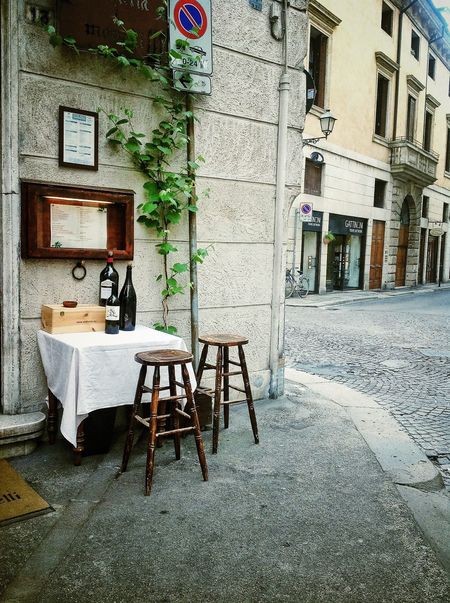 Architecture Italian Restaurant Italian Wine Italy Old Outdoors Sidewalk Table For Two Vicenza Italy