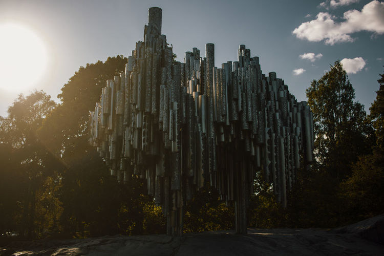 Sibelius monument Architectural Column Architecture Building Building Exterior Built Structure City Day Growth History Low Angle View Nature No People Outdoors Plant Sky Sun Sunbeam Sunlight The Past Travel Destinations Tree