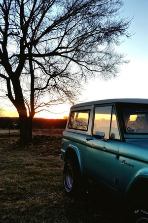 Car Sunset Transportation Tree Land Vehicle No People Outdoors Old-fashioned Sky Nature Day Americanmade Bronco Ford EyeEmNewHere