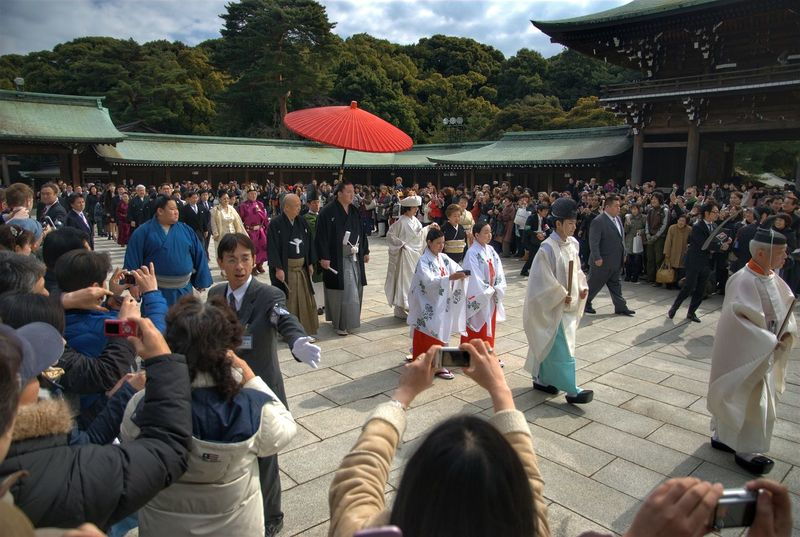 白鵬 翔 , Hakuho Sho wedding Japanese Culture Japanese Wedding Meiji-Jingu Meiji Shrine Hakuho Wedding Sumo Sumowrestler Japan Tradition Traditional Clothing Spirituality Culture Large Group Of People Crowd Men Day