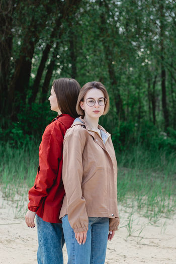 Portrait of a two young caucasian women. women friendship and support concpet