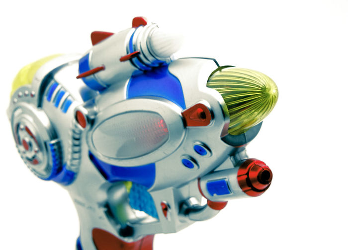 ray gun pointing Isolated Ray Gun Retro Shoot SiFi Art And Craft Close-up Creativity Cut Out Design No People Plastic Pointing Representation Single Object Still Life Studio Shot Toy Toy Gun White Background