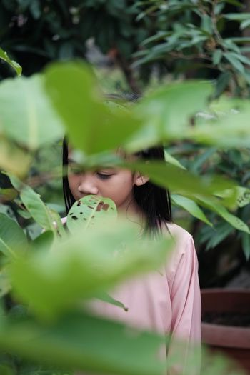 Portrait of girl standing by plant on field
