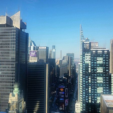 Absolutely gorgeous day today. Great day to be at work. Love what I do! LegacyBuilding NYC TimesSquare instagramers passout staywarm sunset sky pretty colors knockout photooftheday fun weather daytime lookup beautifulday