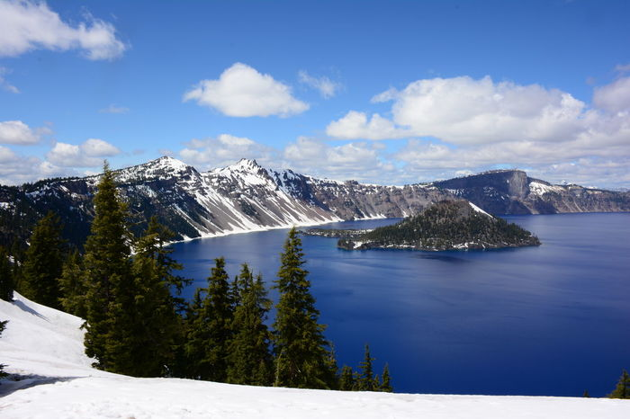 Crater Lake National Park Beauty In Nature Cloud - Sky Cold Temperature Day Mountain Mountain Range Nature No People Outdoors Scenics Sky Snow Snowcapped Mountain Tranquil Scene Tranquility Tree Water Winter