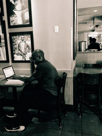 Working out. Really. Working Starbucks Man Computer Washington DC Around Town Coffee Shop People Black And White Photography Internet Addiction