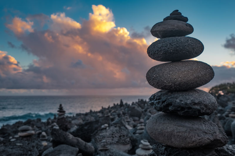 Pebble stack on