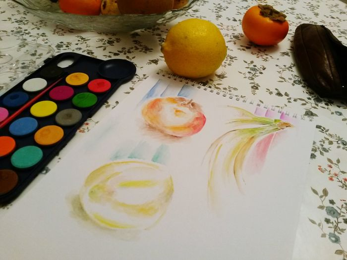 Sketch Mariana Paper Fruit Banana Lemon Watercolor