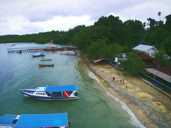 traditional boat for tourist in Bunaken Island DJI X Eyeem Seaside EyeEm Best Shots EyeEm Selects EyeEmNewHere Dronephotography Drone  Midrone Bunaken Aerial View Water Nautical Vessel Transportation Outdoors Beach Sea Day Nature An Eye For Travel