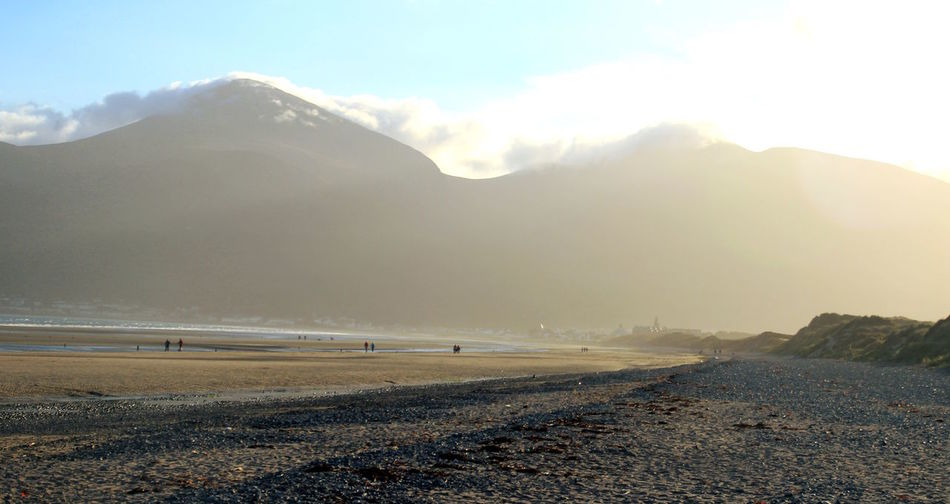 Mourne Mountains, N. Ireland. Beachphotography Blue Sky Clouds And Mountains Dusk Horizontal Mounatins Nature Lines People Walking  Perspective Sand Skyline Sunset
