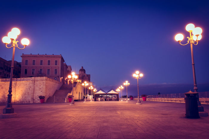 Bastione Di Saint Remy Sardinia Sardegna Italy  Architecture Bastione Bastionesaintremy Building Exterior Built Structure Cagliari City Clear Sky Illuminated Lighting Equipment Nature Night No People Outdoors Sky Snow Street Light Winter First Eyeem Photo