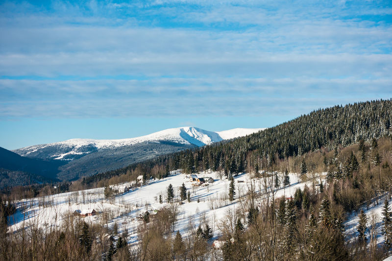 Winter in the Giant Mountains. Beauty In Nature Benecko Cloud - Sky Cold Temperature Czech Republic Day Giant Mountains Krkonose Landscape Mountain Mountain Range Nature No People Outdoors Range Scenics Sky Snow Snowcapped Mountain Tourism Tranquil Scene Tranquility Travel Destinations Tree Winter