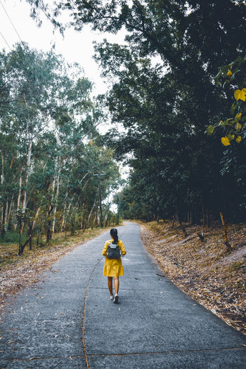 Woman walking on road amidst trees