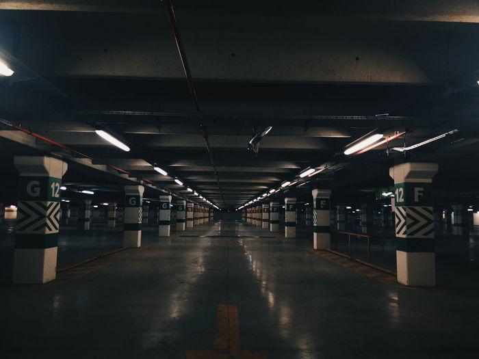 View of empty underground car park
