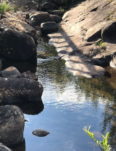 Ruhe in Storforsen Fluss Beeindruckend Felsenlandschaft Felsenmeer Felsen Water Reflection Nature Rock Sunlight Day Solid Rock - Object No People High Angle View Beauty In Nature Tranquility Lake Outdoors Land Non-urban Scene Shadow
