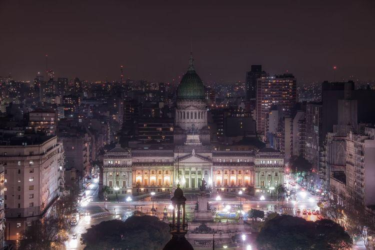 Palacio del congreso and buildings in city at night