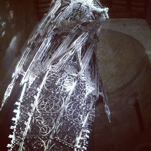 Wim Delvoye - Suppo. A 15 meter stainless steel laser cut 2 ton sculpture hanging in a church.