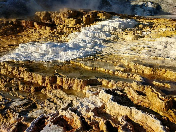 Geothermal  Hotspring Backgrounds Full Frame Sunlight Water Pattern Close-up