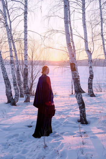 Girl at sunset. My Best Photo Snow One Person Winter Tree Nature Women Day Warm Clothing Land Cold Temperature Field Lifestyles