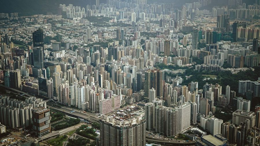 High Angle View Of Buildings At Kowloon In City