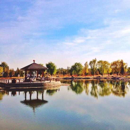 Qing Ning Garden. Ying County Shanxi Province Garden Lake Pavilion Reflection Treets Autumn