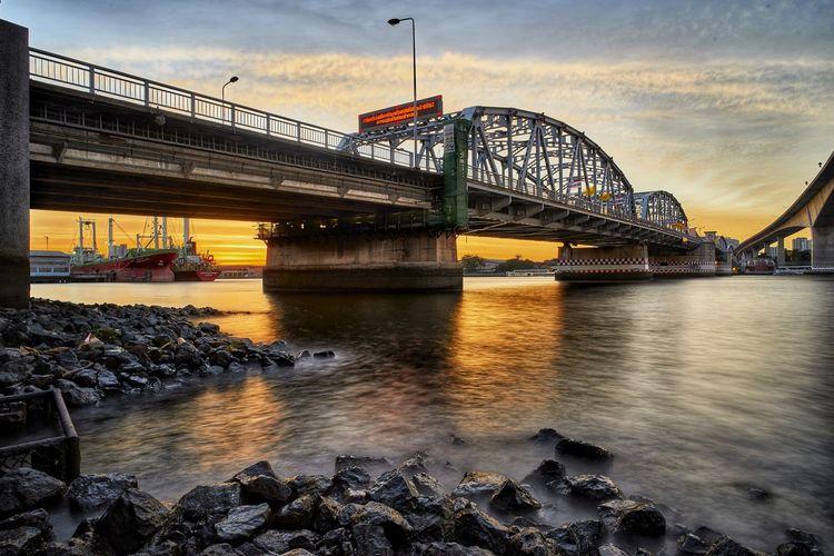 krungthep bridge City Water Bridge - Man Made Structure Sunset River Sky Architecture Built Structure Cloud - Sky