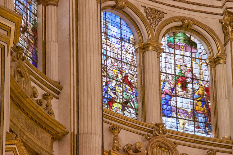 Catedral de Granada Architecture Built Structure Window Building Religion Place Of Worship Indoors  No People Low Angle View Day Belief Glass - Material Stained Glass Spirituality History Ornate Glass Arch Architectural Column Ceiling