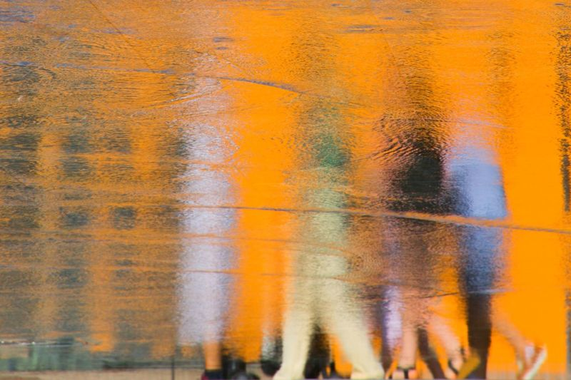 Reflections In The Water Real People Backgrounds Full Frame Orange Color Art And Craft No People Wall - Building Feature Textured  Pattern Abstract Architecture Creativity Yellow Paintings Spray Paint Close-up Textured Effect Multi Colored