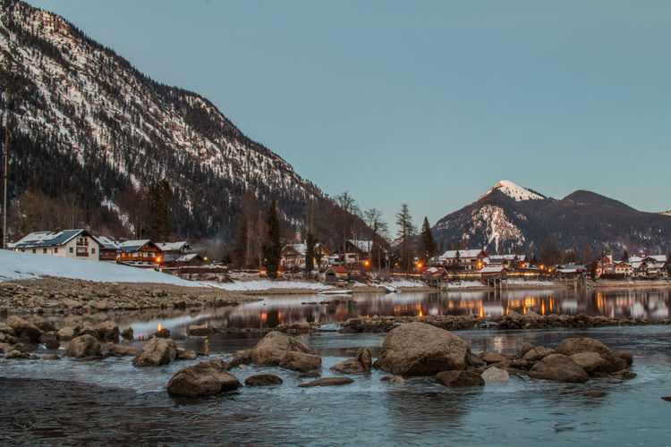 Germany- Walchensee Deutschland Frozen Light Beauty In Nature Europe Germany House Lake Landscape Mountain Nature Outdoors Scenics Snow Sunset Village Walchensee Water Winter